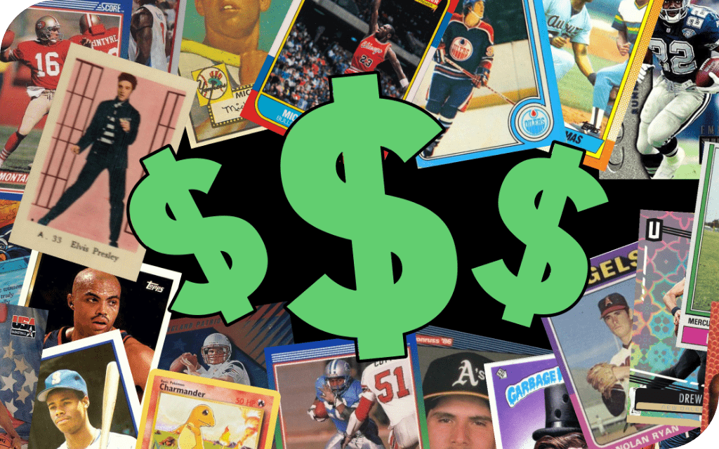image of trading cards with dollar signs