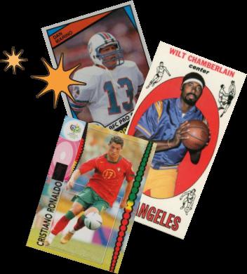 Collage of 1969 Wilt Chamberlain Rookie Card, 1984 Topps Dan Marino Card and 2006 Cristiano Ronaldo Panini Soccer Card